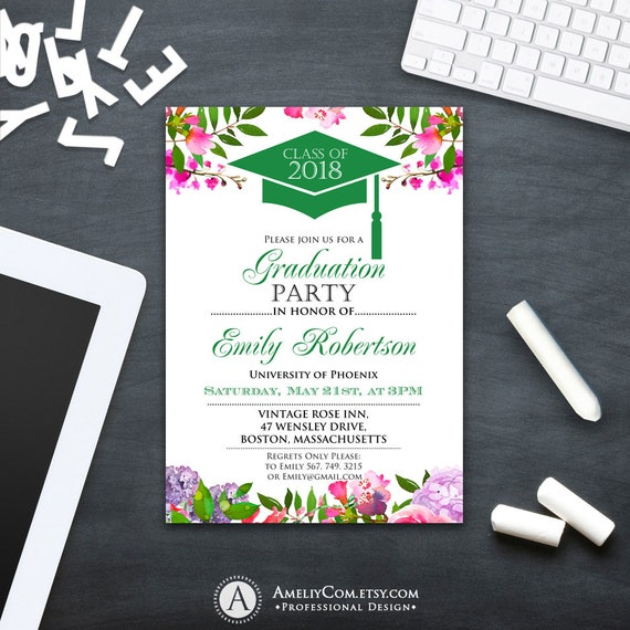 Graduation invitation printable green college graduation etsy image 0 filmwisefo