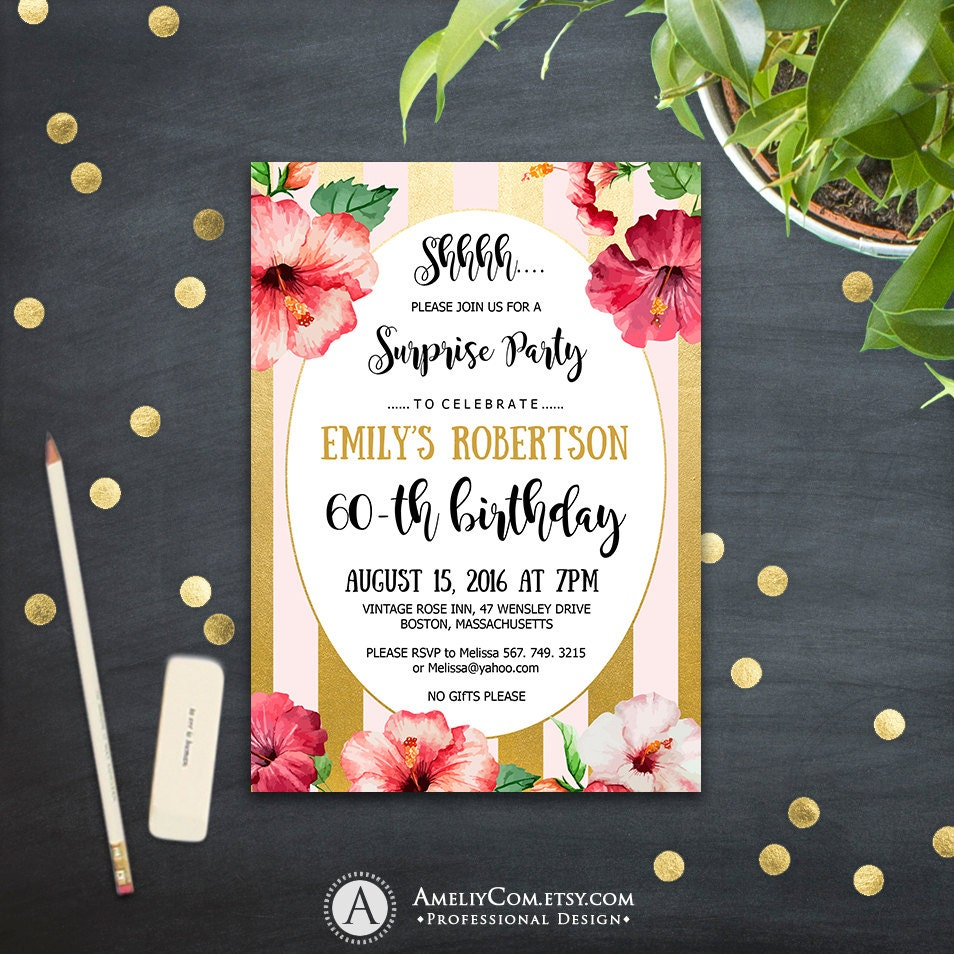 Hawaii Birthday Invitations Printable Surprise Birthday Party Etsy