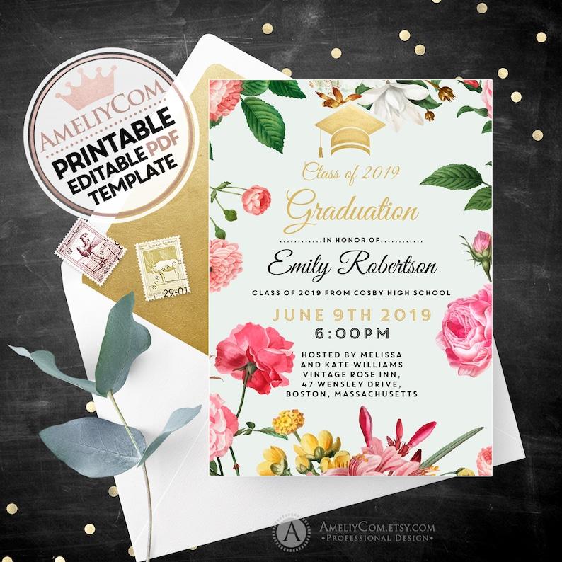 Botanical Invitation, Floral Graduation Announcement Invitation Printable  Template, Girl High School / College Grad Invite INSTANT DOWNLOAD