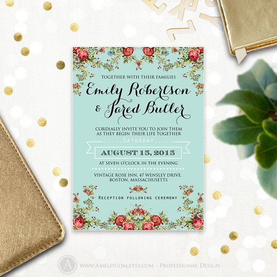 Wedding Invitation Printable Rustic Shabby Chic Teal Blue Etsy