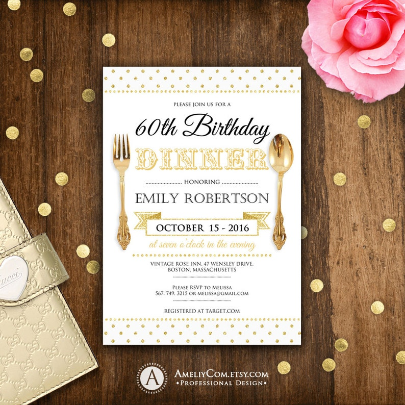 Birthday Dinner Invite Printable Invitations