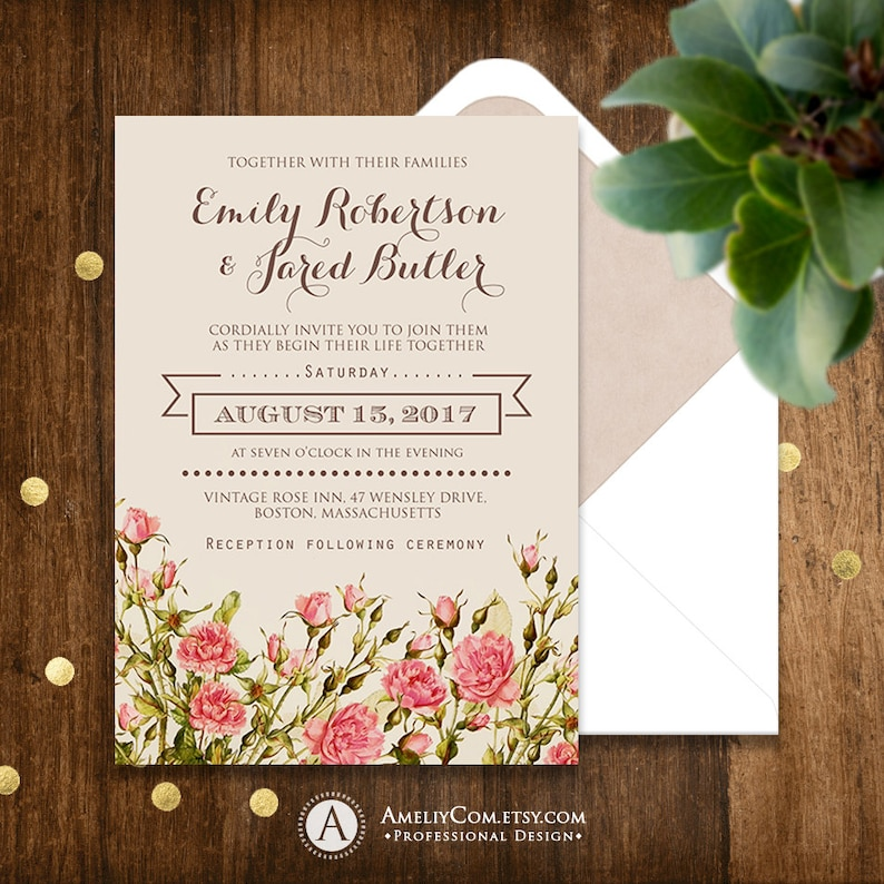 Printable Rustic Wedding Invitation Pink Roses Shabby Chic Etsy