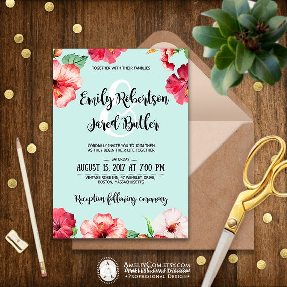 Hawaii Wedding Invitation Printable Tropical Invitations Blue Etsy