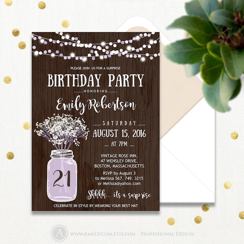 21th Birthday Party Invitations Printable Lavender Adult