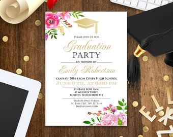 Floral High School graduation party gold invitation - College Graduation Announcement - Graduation party Invitation Girl - instant download