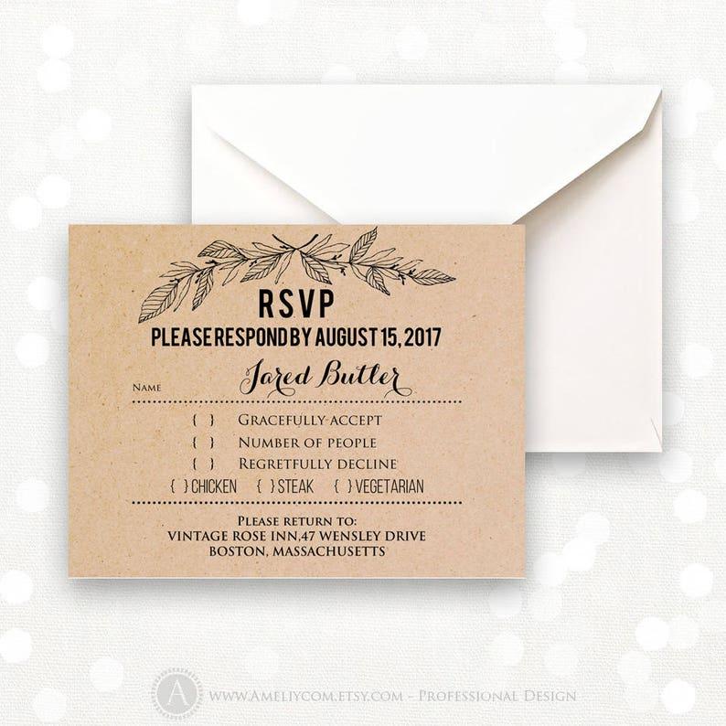 photo relating to Printable Rsvp Cards identify Rustic Kraft RSVP Card Printable - Woodland RSVP Card - Instantaneous Obtain RSVP Card Editable Region Wedding day Solution Card + Again PostCard