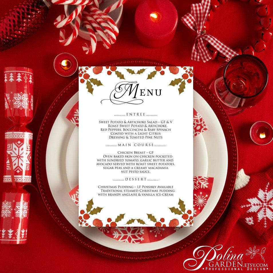 Christmas Dinner Menu Holiday Winter Dinner Menu Printable | Etsy