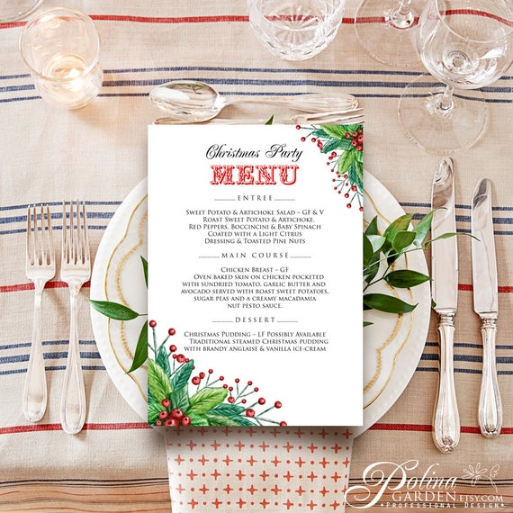 Winter Wedding Menu Template Christmas Dinner Menu Ideas Etsy