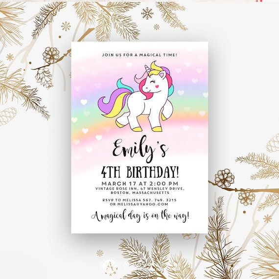 Rainbow Unicorn Birthday Invitation For Girl 4th