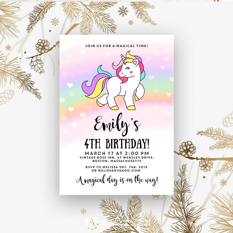 Rainbow Unicorn Birthday Invitation For Girl 4th Party Printable Invites Cute Magical Hearts Invitations Digital Template