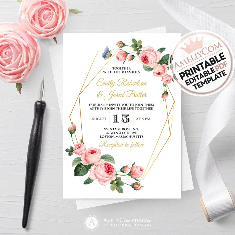 photograph about Etsy Wedding Invitations Printable named Floral Marriage ceremony Invitation Printable, Blush Rose Gold Geometric Invite, Botanical Marriage ceremony Invites Template Down load Foliage Do-it-yourself Invitations