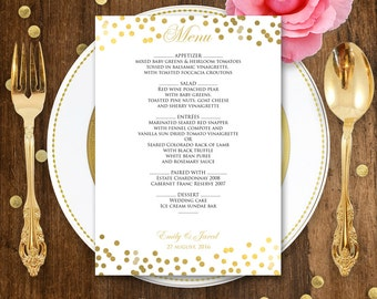 Printable Gold Wedding Menu EDITABLE Glam Gold - Instant download PDF file - DIY Menu Cards for Print at Home - Template Digital Menu Card