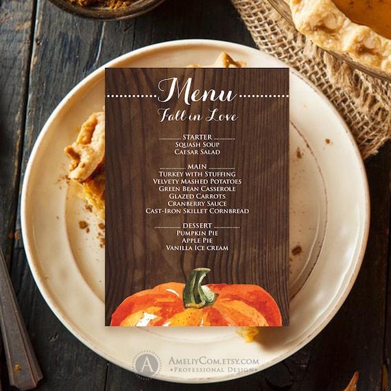 fall menu template printable wood rustic menu digital etsy
