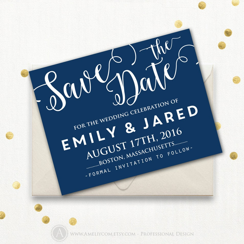 Printable Save The Date Card Template Navy Dark Blue Etsy