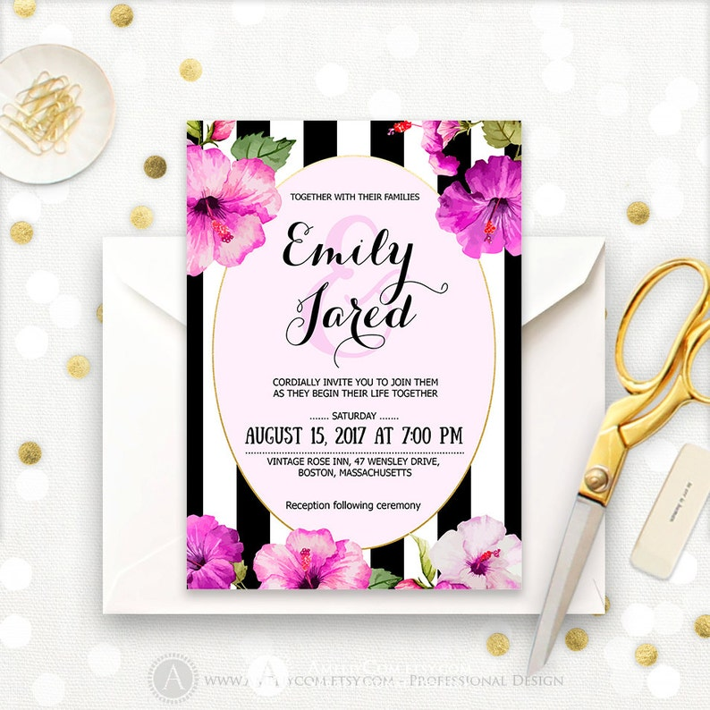 Hibiscus Wedding Invitation Printable Tropical Invitations Etsy
