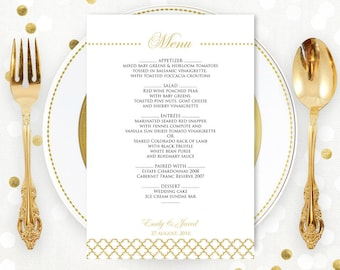 Gold Printable Wedding Menu EDITABLE Vintage Gold - Instant download PDF file - DIY Menu Cards for Print at Home- Template Digital Menu Card
