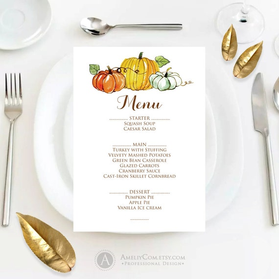 fall menu template printable autumn thanksgiving menu fall etsy
