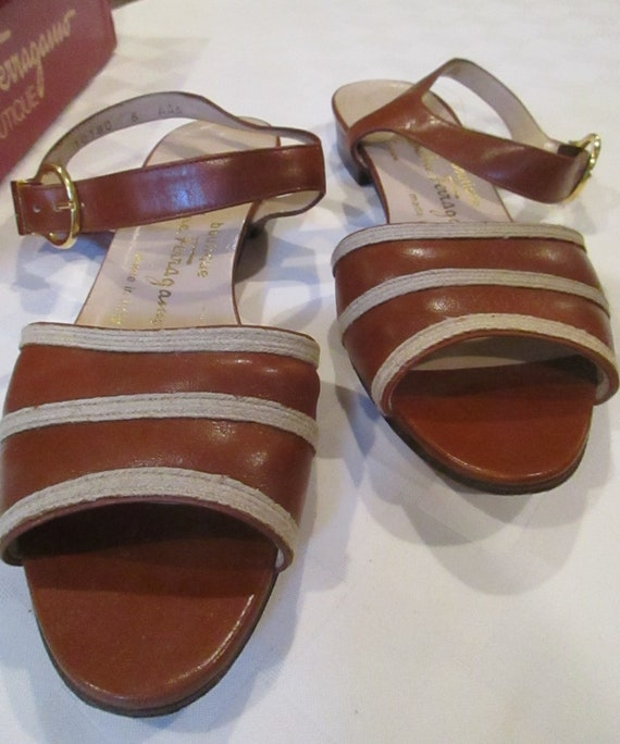 6d2889162301b vintage 1980's Ferragamo tan sandals calf leather size 8 AAA original box