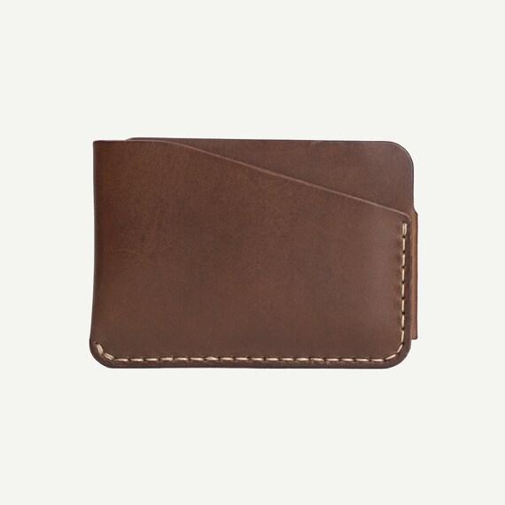 DHK marchandises 3-Pocket Card Wallet - légume marron cuir tanné. Porte cartes en cuir fait main