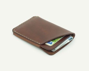 DHK GOODS 2-Pocket Card Wallet  - Brown oily leather. Handmade leather card holder
