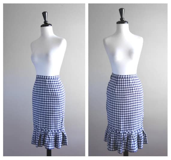 Darling Navy Blue & White Gingham Fitted Vintage P