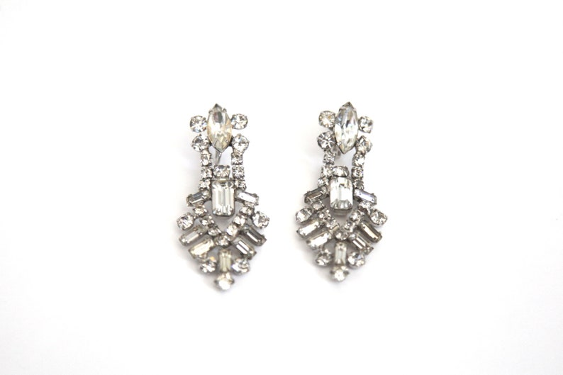 Gorgeous Vintage Rhinestone Clip On Earrings  1950s