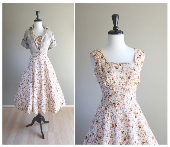 Pinup Perfect Rosebud Floral Vintage 1950s Fit & F