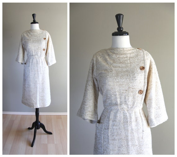 Lovely Vintage 1970s Nubby Linen Twill Day Dress /