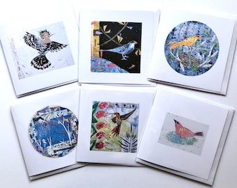 Pack of six bird themed artist designed printed greetings cards. Free postage UK.
