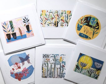 Six summer collection printed artist designed greetings cards. Free postage UK.