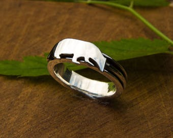 Silver spinner ring, badger ring, badger spinner ring, fidget ring, silver fidget ring, woodland jewellery, UK hallmark, size P 1/2, size 8