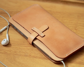 100% Handmade-stitched Vegetable Tanned Leather Case Holder for Iphone7P/7/6/6 plus/6s/6s plus