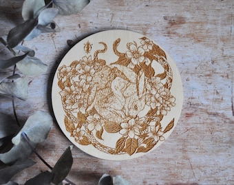 Illustrated Laser cut Birch Wood Hare Plaque, Alternative Homeware, Altar Plate, Wall and Table Plate