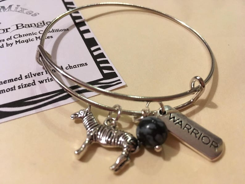 Ehlers Danlos Syndrome EDS Warrior Gemstone /& Charm Bangle Zebra Awareness fighting EDS