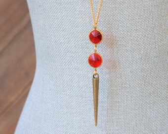 CLOSEOUT Long Ruby Red Necklace - Long Gold Spike Necklace - July Birthstone Necklace - Red Bead Necklace - Red and Gold Layering Jewelry