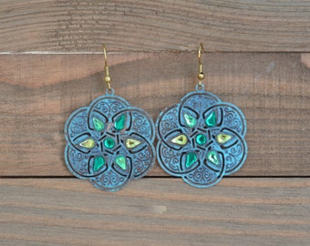 CLOSEOUT Green and Gold Filigree Earrings - Large Green Disk Earrings - Green Statement Earrings - Geometric Earrings - Round Earrings