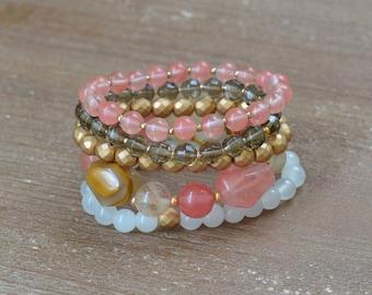CLOSEOUT Tiger Rose Stack - Rose Quartz Bracelet Stack - Beaded Stretch Bracelet Set - Chunky Bead Bracelet - Stackable Arm Candy Bracelets