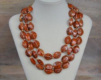 Burnt Orange Triple Strand Chunky Bead Statement Necklace - Auburn Game Day Necklace - Multi Strand Beaded Necklace - Chunky Orange Necklace
