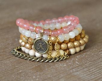 CLOSEOUT Sunny Stack - Beaded Stretch Bracelet Stack - Rose Quartz Bracelet - Wood Bead Bracelet - Arm Candy Bracelets - Charm Bracelet Set