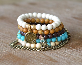 CLOSEOUT Cowgirl Stack - Beaded Stretch Bracelet - Bracelet Stack Set - Turquoise Wood Bead Bracelet - Arm Candy Bracelets - Charm Bracelet