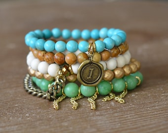 CLOSEOUT Cali Stack - Beaded Stretch Bracelet Stack - Bracelet Stack Set - Turquoise Wood Bead Bracelet - Arm Candy Charm Bracelet