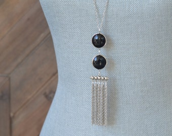 CLOSEOUT Long Black Tassel Necklace - Long Fringe Necklace - Black and Silver Necklace - Long Silver Chain Necklace - Long Dangle Necklace