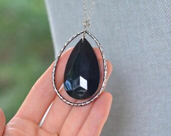 CLOSEOUT Long Black Teardrop Necklace - Silver Teardrop Necklace - Long Silver Necklace - Black and Silver - Large Black Bead Necklace