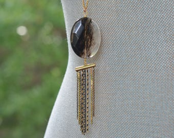 CLOSEOUT Long Black and Gold Tassel Necklace - Long Fringe Necklace - Long Black Stone Necklace - Black and Quartz Necklace