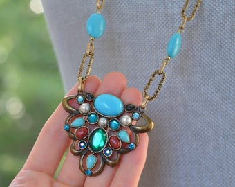 CLOSEOUT Long Turquoise Stone Statement Necklace - Long Statement Necklace - Gold and Turquoise Pendant Necklace - Large Pendant Necklace