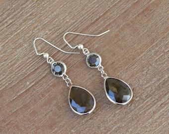 CLOSEOUT Silver Teardrop Earrings - Silver Dangle Earrings - Glass Drop Earrings - Rhinestone Dangle Earrings - Gray Earrings