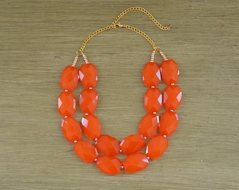 Double Strand Orange Layered Statement Necklace - Chunky Orange Bead Necklace - Double Layer Bib - Burnt Orange Necklace Auburn Clemson