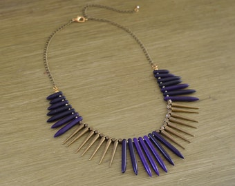 CLOSEOUT Purple Turquoise Spike Necklace - Purple and Gold Necklace - Purple Bead Statement Necklace - Purple Bib Necklace - Purple Stone