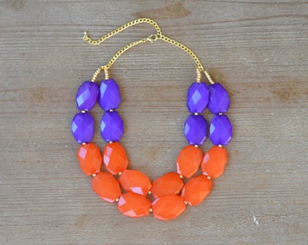 Orange and Purple Statement Necklace - Clemson Necklace - Clemson Jewelry - Clemson Graduation Gift - Chunky Bead Bib Necklace - Game Day