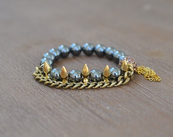 CLOSEOUT Gold Spike Bracelet - Beaded Stretch Bracelet - Bracelet Stack Set - Gunmetal Bead Bracelet - Arm Candy Bracelets - Charm Bracelet